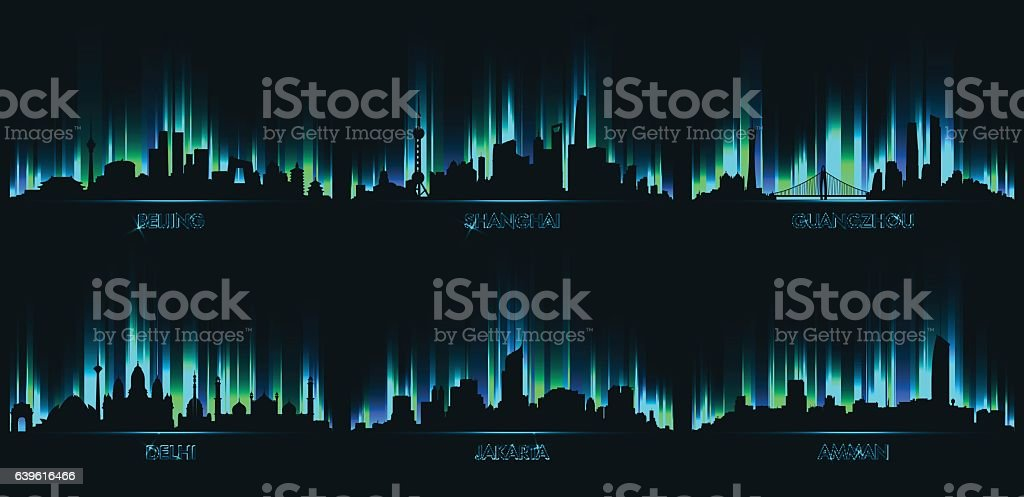 Neon city skyline, Beijing, Shanghai, Guangzhou, vector art illustration