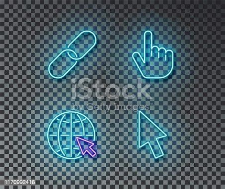 istock Neon click signs vector isolated on brick wall. Link, network, cursor, finger light symbol, decorati 1170992416