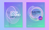 Music poster. Dynamic gradient shape and line. Minimal concert invitation set. Neon music poster. Electro dance dj. Electronic sound fest. Club event flyer. Techno trance party.
