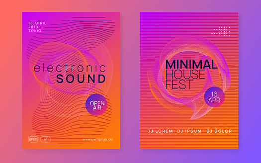 Neon Club Flyer Electro Dance Music Trance Party Dj Electronic Sound Fest  Techno Event Poster Stock Illustration - Download Image Now