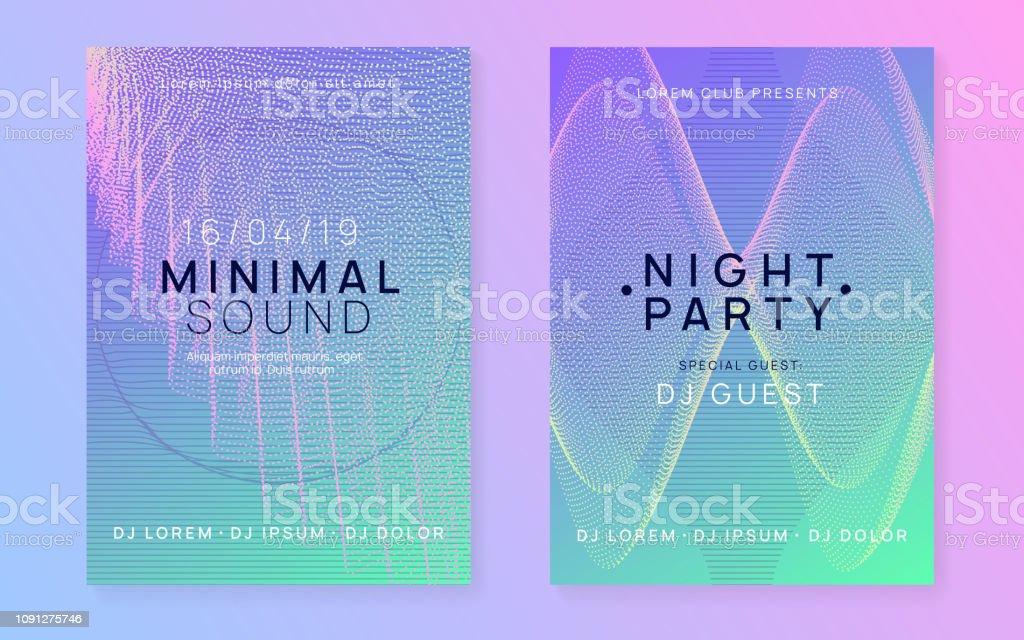 Neon Club Flyer Electro Dance Music Trance Party Dj Electronic Sound