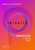 Music flyer. Dynamic gradient shape and line. Abstract show invitation concept. Neon music flyer. Electro dance dj. Electronic sound fest. Techno trance party. Club event poster.