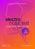 Sound flyer. Dynamic gradient shape and line. Trendy discotheque banner template. Neon sound flyer. Electro dance music. Electronic fest event. Club dj poster. Techno trance party.