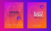 Trance event. Dynamic gradient shape and line. Energy discotheque magazine set. Neon trance event flyer. Techno dj party. Electro dance music. Electronic sound. Club fest poster.