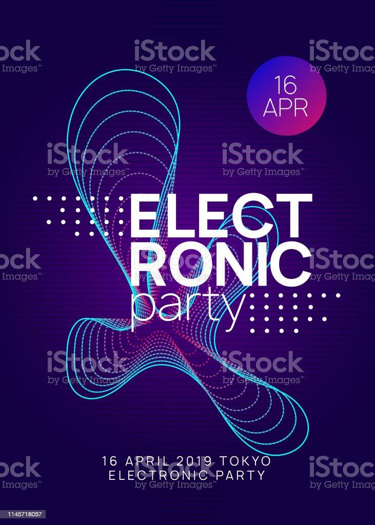 Neon Club Flyer Electro Dance Music Trance Party Dj