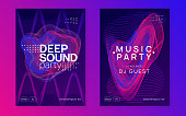 Techno event. Dynamic gradient shape and line. Curvy show cover set. Neon techno event flyer. Electro dance music. Electronic sound. Trance fest poster. Club dj party.