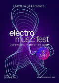 Techno event. Dynamic gradient shape and line. Curvy concert brochure layout. Neon techno event flyer. Electro dance music. Electronic sound. Trance fest poster. Club dj party.