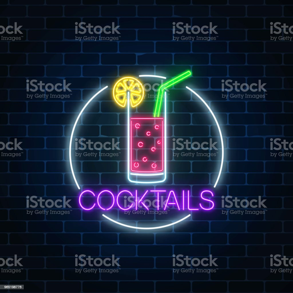 Neon cocktail glass sign in circle frame. Glowing gas advertising with glass of alcohol shake with citrus. royalty-free neon cocktail glass sign in circle frame glowing gas advertising with glass of alcohol shake with citrus stock vector art & more images of alcohol
