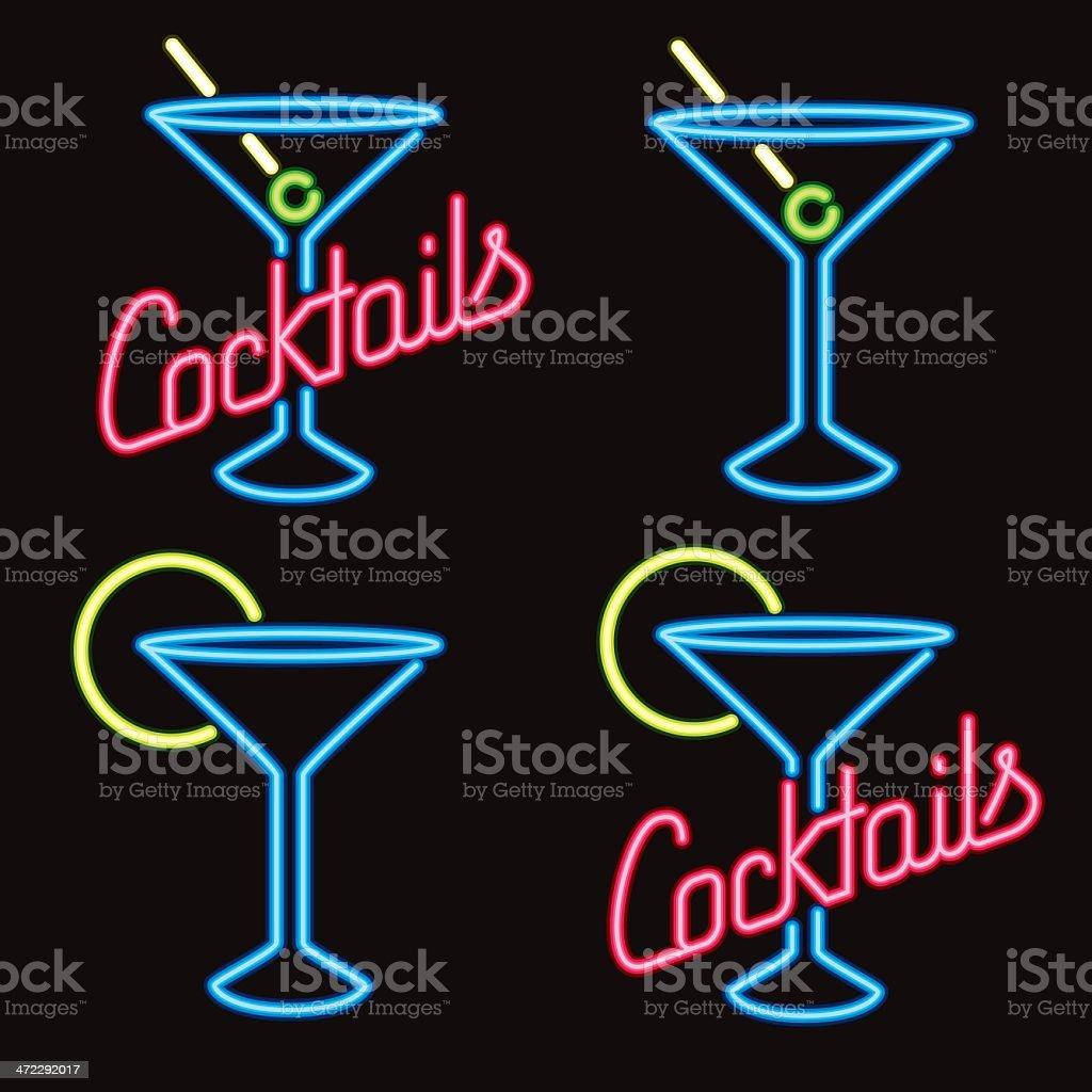 Placas em Neon Cocktail Lounge - ilustração de arte em vetor