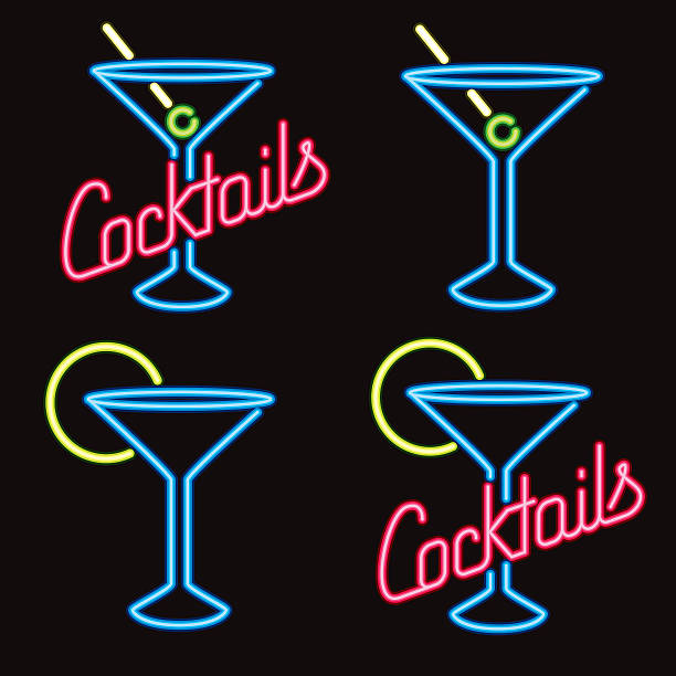 Neon Cocktail Lounge Signs Four simple 'Cocktail Lounge' signs in neon. No gradients or transparencies used. martini glass stock illustrations