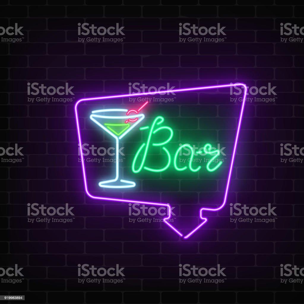 Neoncocktailbar Oder Im Café Anmelden Rahmen Mit Pfeil Auf Dunklen ...