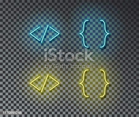 istock Neon coding signs vector isolated on brick wall. Block code, web, programming light symbol, decorati 1170991245