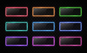 Neon color button set. Glowing line rectangle. Light effect. Glossy glass texture glare banner on transparent background. Web interface infographic internet site report square sign vector illustration