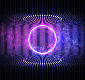 istock Neon color geometric circle on metal stripe pattern background. Round mystical portal, neon sign. Reflection of blue and pink neon light on the floor. Rays of light in the dark, smoke. Vector. 1206424397