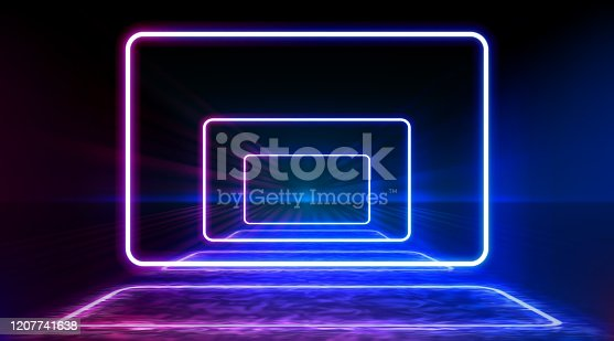 istock Neon color geometric round rectangle on metal stripe pattern background. Mystical portal, luminous line, neon sign. Reflection of blue and pink neon light on the floor. Rays of light in the dark, smoke. Vector. 1207741638