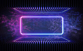 Neon color geometric round rectangle on metal stripe pattern background. Round rectangle mystical portal, luminous line, neon sign. Reflection of blue and pink neon light on the floor. Vector. EPS 10