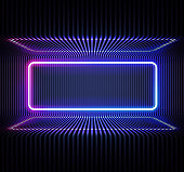 istock Neon color geometric round rectangle on metal stripe pattern background. Round rectangle mystical portal, luminous line, neon sign. Reflection of blue and pink neon light on the floor. Vector. 1207741866