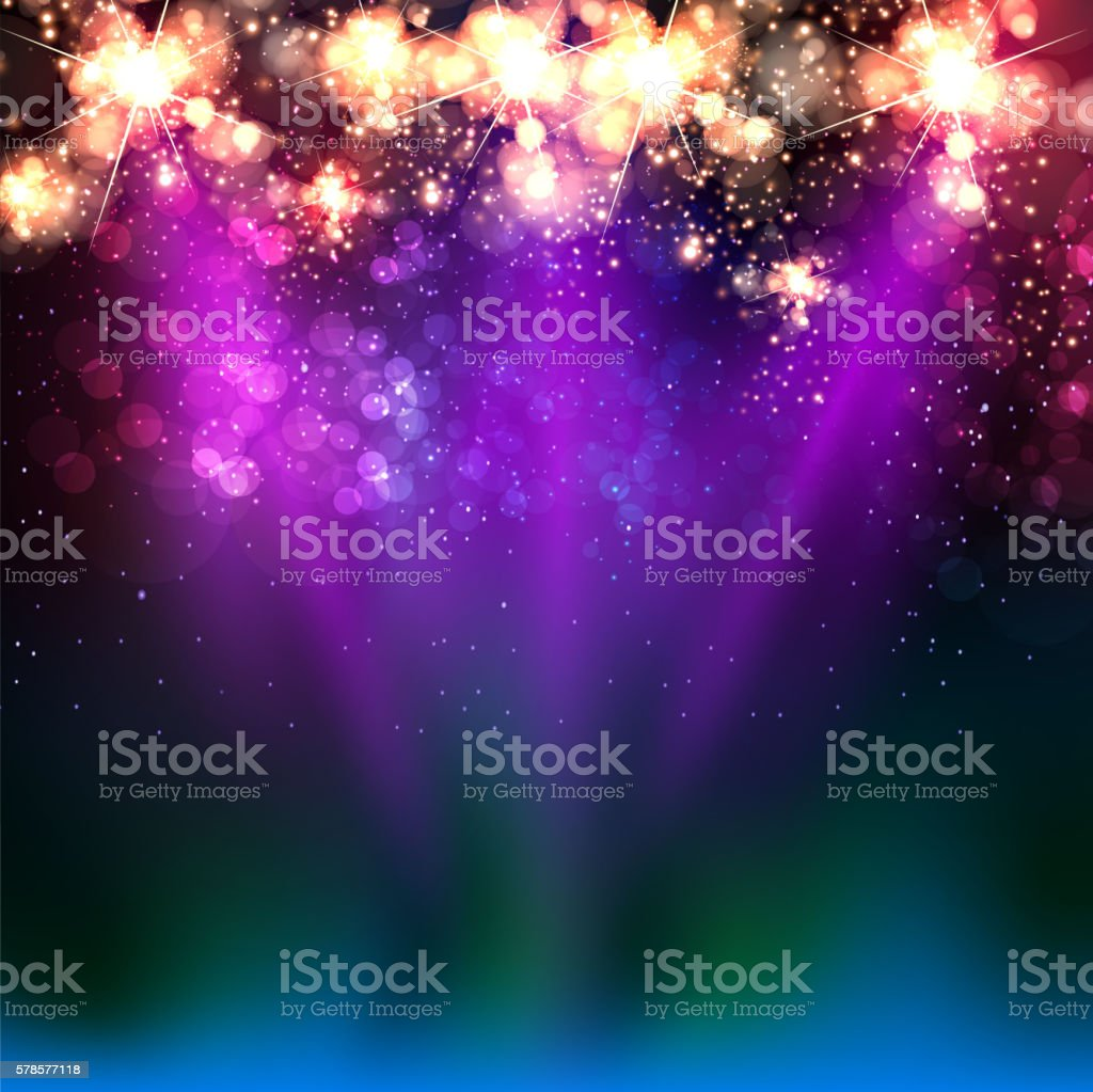 Neon color light stage vector art illustration