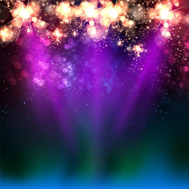 Neon color light stage - ilustração de arte em vetor