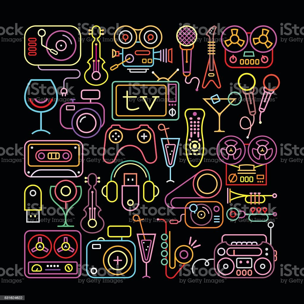 Neon Colors Entertainment Icons vector art illustration