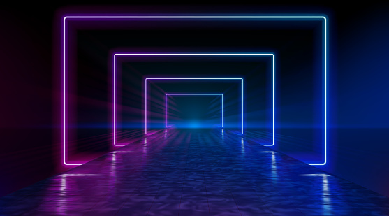 Neon corridor stretching to the horizon, clear night sky without clouds, reflection of light on the wet surface of the road. The road to the horizon. Futuristic portals. Vector.