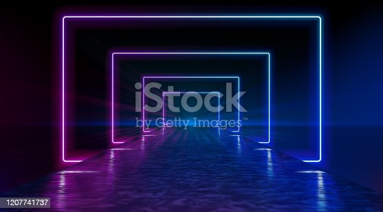 istock Neon corridor stretching to the horizon, clear night sky without clouds, reflection of light on the wet surface of the road. The road to the horizon. Futuristic portals. Vector. 1207741737