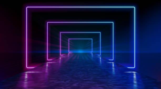 Neonkorridor, der sich bis zum Horizont erstreckt, klarer Nachthimmel ohne Wolken, Reflexion des Lichts auf der nassen Oberfläche der Straße. Der Weg zum Horizont. Futuristische Portale. Vektor. – Vektorgrafik