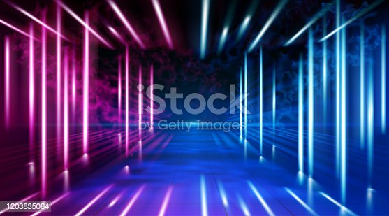 istock A neon corridor tending to the horizon, a clear night sky without clouds and a lone star, the reflection of light on the surface of stone earth. Smoke fog. The road to the horizon. Vector. 1203835064