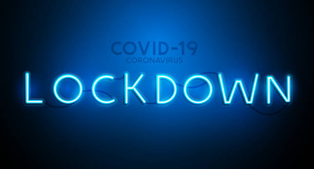stockillustraties, clipart, cartoons en iconen met neon covid-19 lockdown sign banner - lockdown