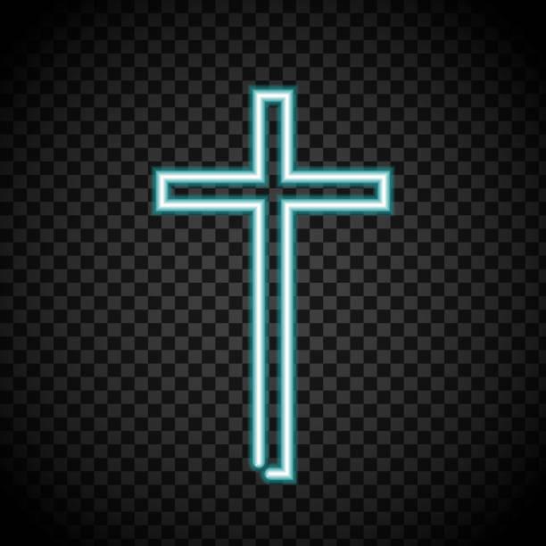 neon cross, glowing cross, religion, Christianity, Jesus crosses on transparent neon cross, glowing cross, religion, Christianity, Jesus crosses on transparent background. nu stock illustrations