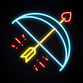 Neon cupid arrow sign. Bright Valentine's day symbol. Love, couple, relationship, holiday, romantic theme. Light heart shape.