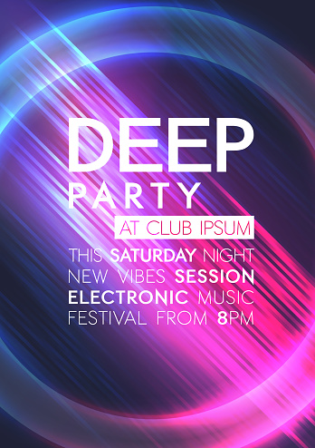 Neon dance party poster background