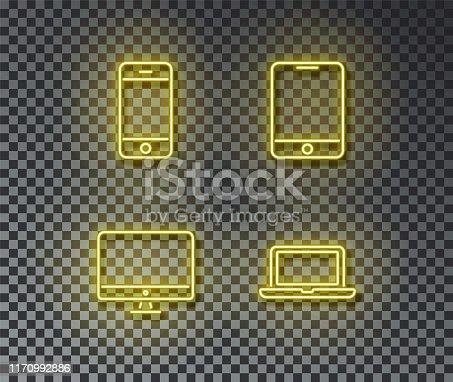 istock Neon device signs vector isolated on brick wall. Phone, smartphone, pk, laptoplight symbol, decorati 1170992886