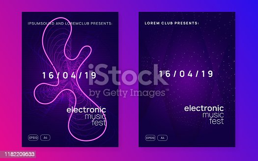 Dj party. Commercial show cover set. Dynamic fluid shape and line. Neon dj party flyer. Electro dance music. Techno trance. Electronic sound event. Club fest poster.