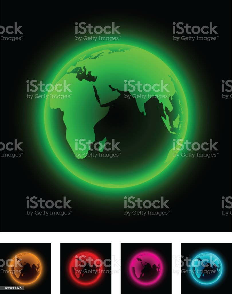 Neon earth. royalty-free neon earth stock vector art & more images of africa