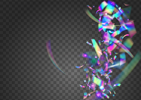 Neon Effect. Light Sparkles. Flying Art. Retro Festival Wallpaper. Metal Flare. Transparent Background. Purple Laser Glare. Bright Foil. Blue Neon Effect