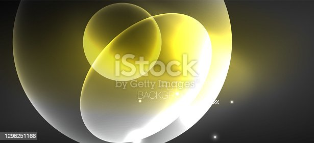 istock Neon ellipses abstract backgrounds. Shiny bright round shapes glowing in the dark. Vector futuristic illustrations for covers, banners, flyers and posters and other 1298251166