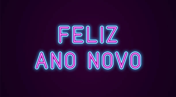 Neon festive inscription for Portuguese New Year Neon festive inscription for Portuguese New Year. Vector illustration of Feliz Ano Novo text in Neon style with backlight, Blue and Purple colors. Isolated glowing lettering for decoration ano novo stock illustrations