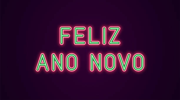 Neon festive inscription for Portuguese New Year Neon festive inscription for Portuguese New Year. Vector illustration of Feliz Ano Novo text in Neon style with backlight, Green and Red colors. Isolated glowing lettering for decoration ano novo stock illustrations
