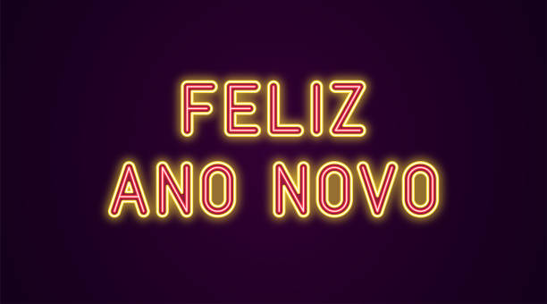 Neon festive inscription for Portuguese New Year Neon festive inscription for Portuguese New Year. Vector illustration of Feliz Ano Novo text in Neon style with backlight, Red and Yellow colors. Isolated glowing lettering for decoration ano novo stock illustrations