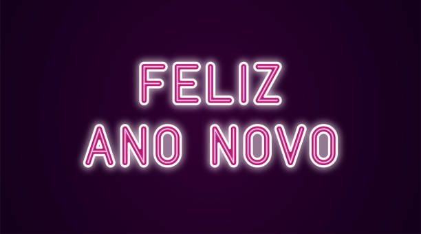 Neon festive inscription for Portuguese New Year Neon festive inscription for Portuguese New Year. Vector illustration of Feliz Ano Novo text in Neon style with backlight, Pink and White colors. Isolated glowing lettering for decoration ano novo stock illustrations
