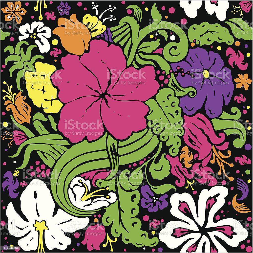 Neon Floral on Velvet royalty-free neon floral on velvet stock vector art & more images of 1970-1979