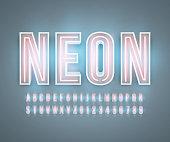 Neon font alphabet realistic effect in vector format