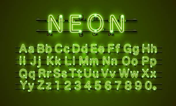 neonowe miasto czcionek. neonowa zielona czcionka. zielona czcionka lampy. czcionka alfabetu. - neon stock illustrations