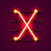 Neon font letter X, art design signboard.