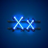 Neon font letter x, art design singboard.