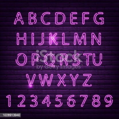 Neon font set night alphabet vector illustration. Letter electricity typography lamp type. Tube bright glowing typeset text design. Fluorescent illuminated abc font.