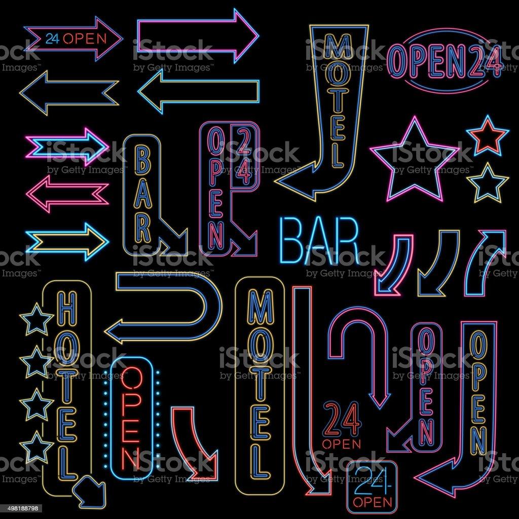 Neon font set vector art illustration