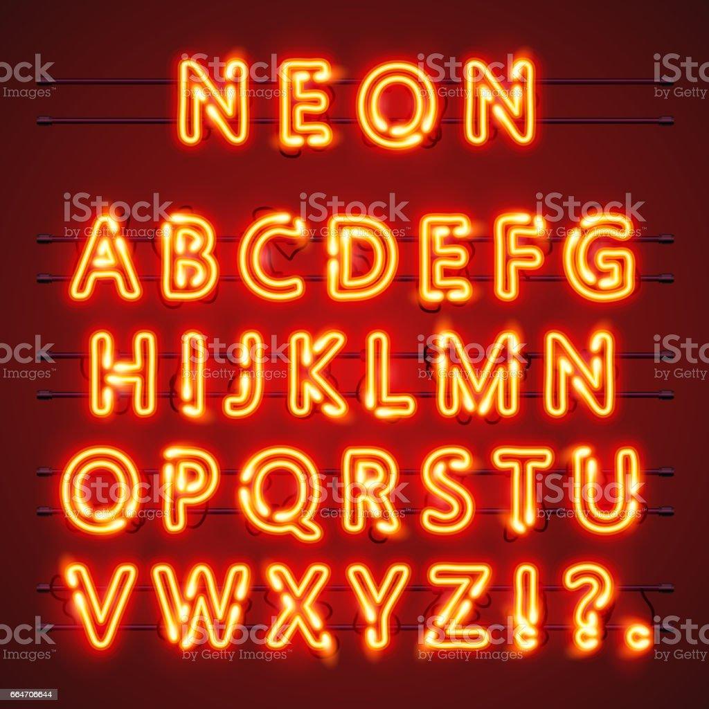 Neon font text. Lamp sign. Alphabet . Vector illustration vector art illustration