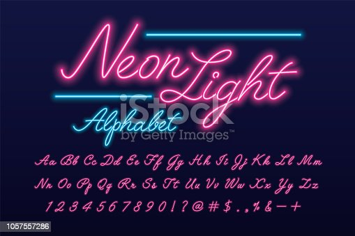 Glowing pink and blue neon light script alphabet